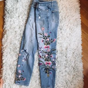 Zara Boho Distressed and Embellished Jeans